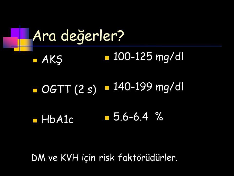 Ara değerler 100-125 mg/dl AKŞ 140-199 mg/dl OGTT (2 s) 5.6-6.4 %