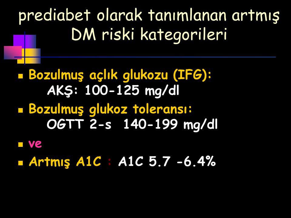 prediabet olarak tanımlanan artmış DM riski kategorileri
