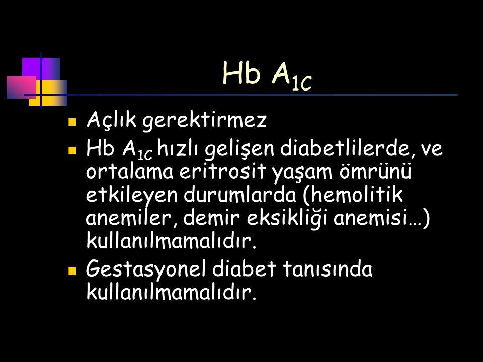 Hb A1C Açlık gerektirmez
