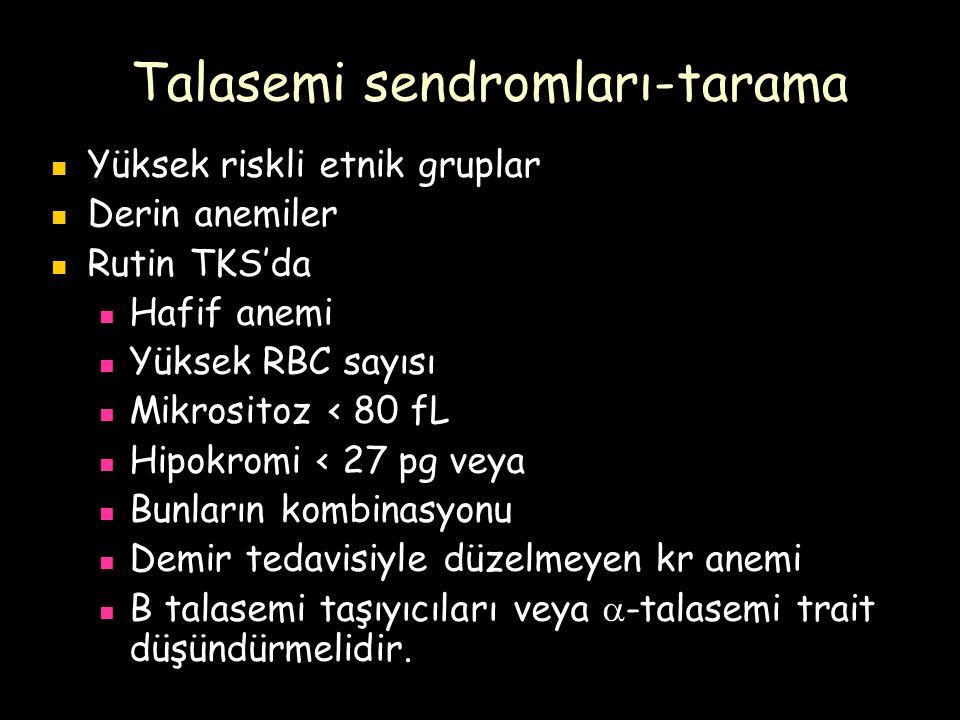 Talasemi sendromları-tarama