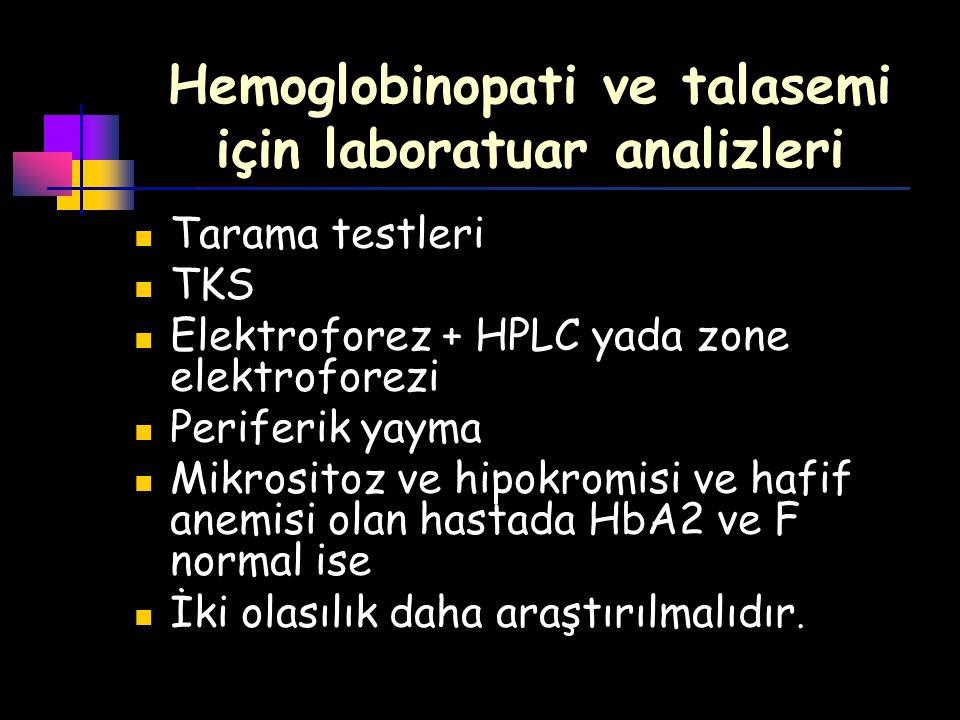 Hemoglobinopati ve talasemi için laboratuar analizleri