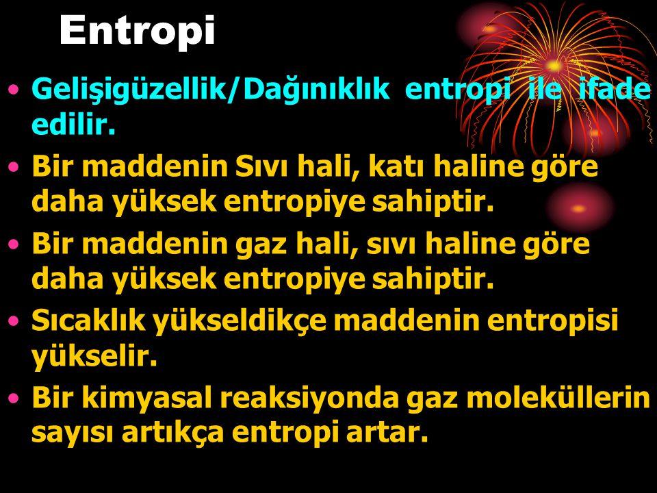 Entropi Gelişigüzellik/Dağınıklık entropi ile ifade edilir.