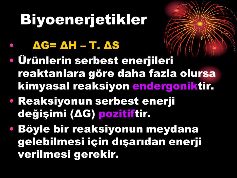 Biyoenerjetikler ΔG= ΔH – T. ΔS