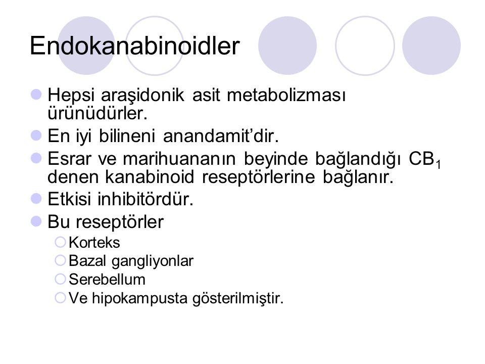 Endokanabinoidler Hepsi araşidonik asit metabolizması ürünüdürler.