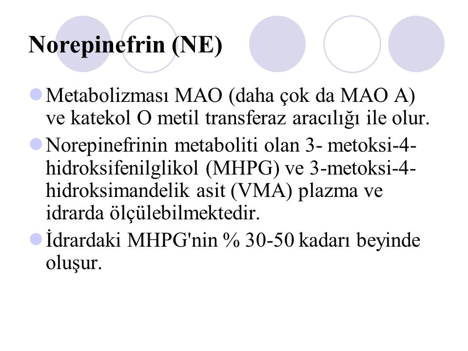 Norepinefrin (NE) Metabolizması MAO (daha çok da MAO A) ve katekol O metil transferaz aracılığı ile olur.