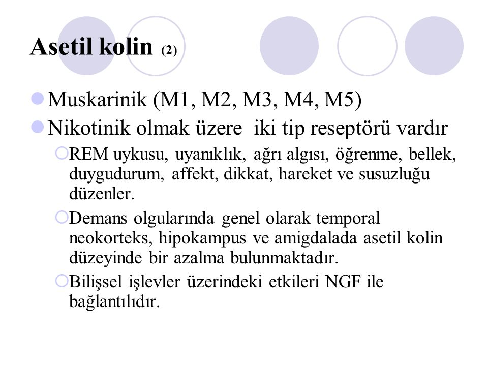 Asetil kolin (2) Muskarinik (M1, M2, M3, M4, M5)
