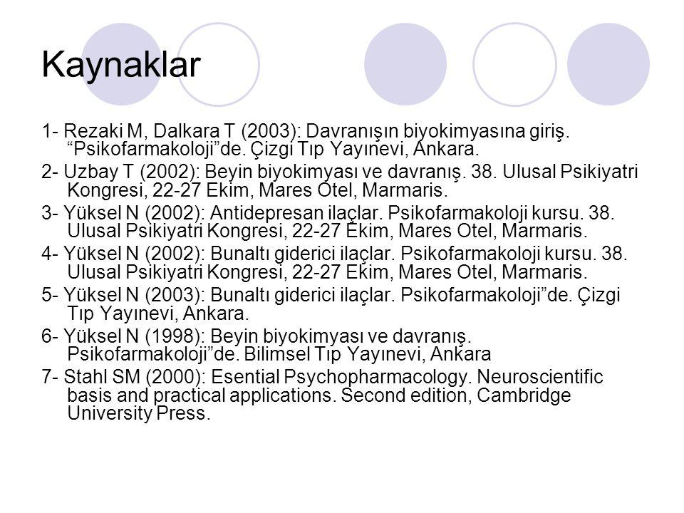 Kaynaklar 1- Rezaki M, Dalkara T (2003): Davranışın biyokimyasına giriş. Psikofarmakoloji de. Çizgi Tıp Yayınevi, Ankara.