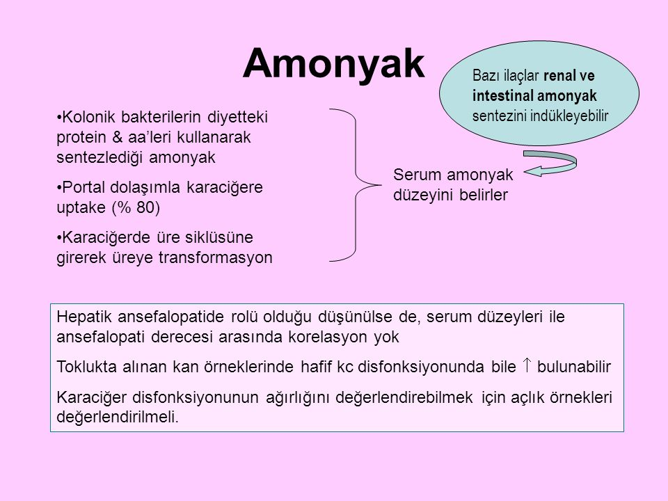 Amonyak Bazı ilaçlar renal ve intestinal amonyak sentezini indükleyebilir.