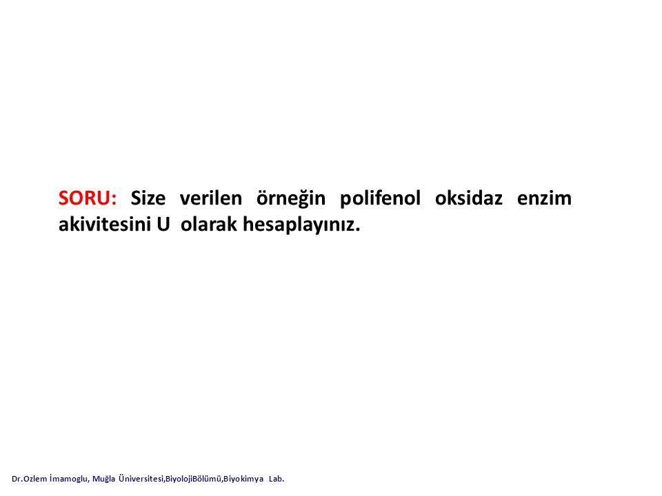 SORU: Size verilen örneğin polifenol oksidaz enzim akivitesini U olarak hesaplayınız.