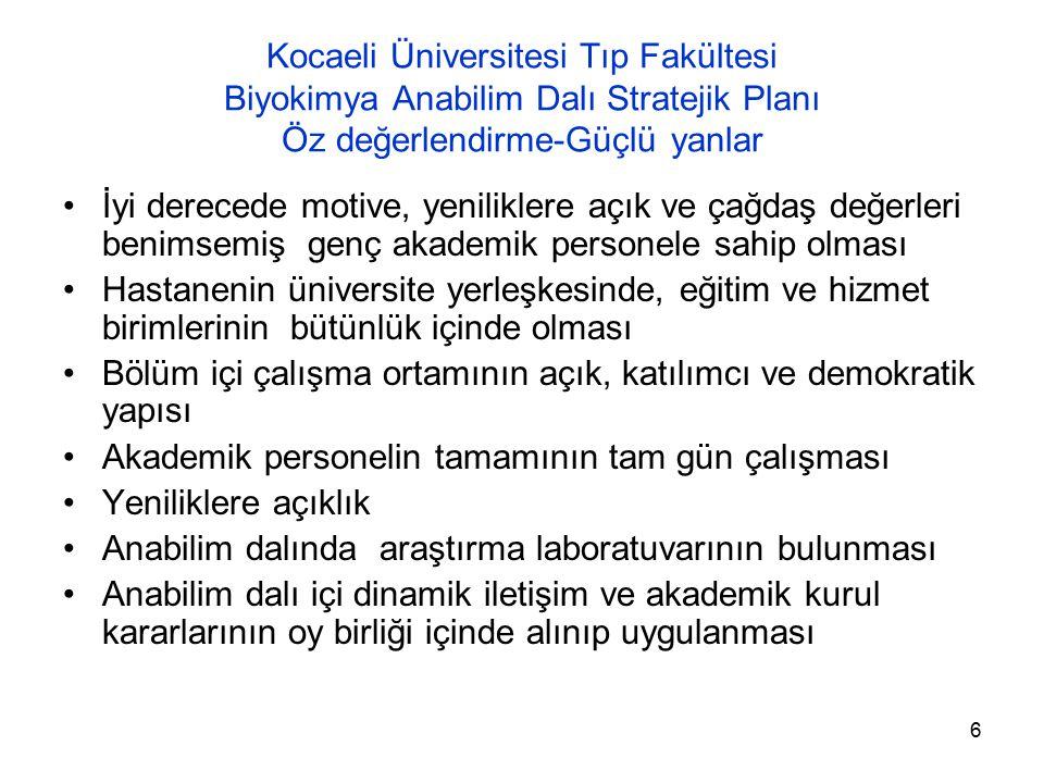 Kocaeli Üniversitesi Tıp Fakültesi Biyokimya Anabilim Dalı Stratejik Planı Öz değerlendirme-Güçlü yanlar