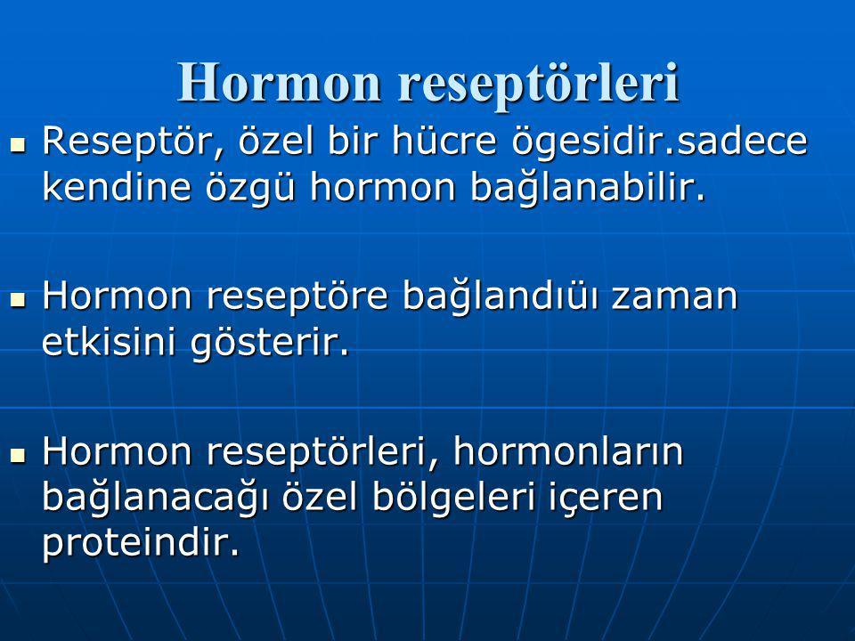Hormon reseptörleri Reseptör, özel bir hücre ögesidir.sadece kendine özgü hormon bağlanabilir. Hormon reseptöre bağlandıüı zaman etkisini gösterir.