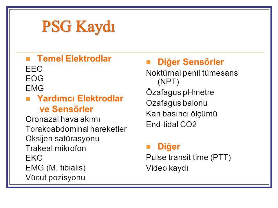 PSG Kaydı Temel Elektrodlar Diğer Sensörler Yardımcı Elektrodlar