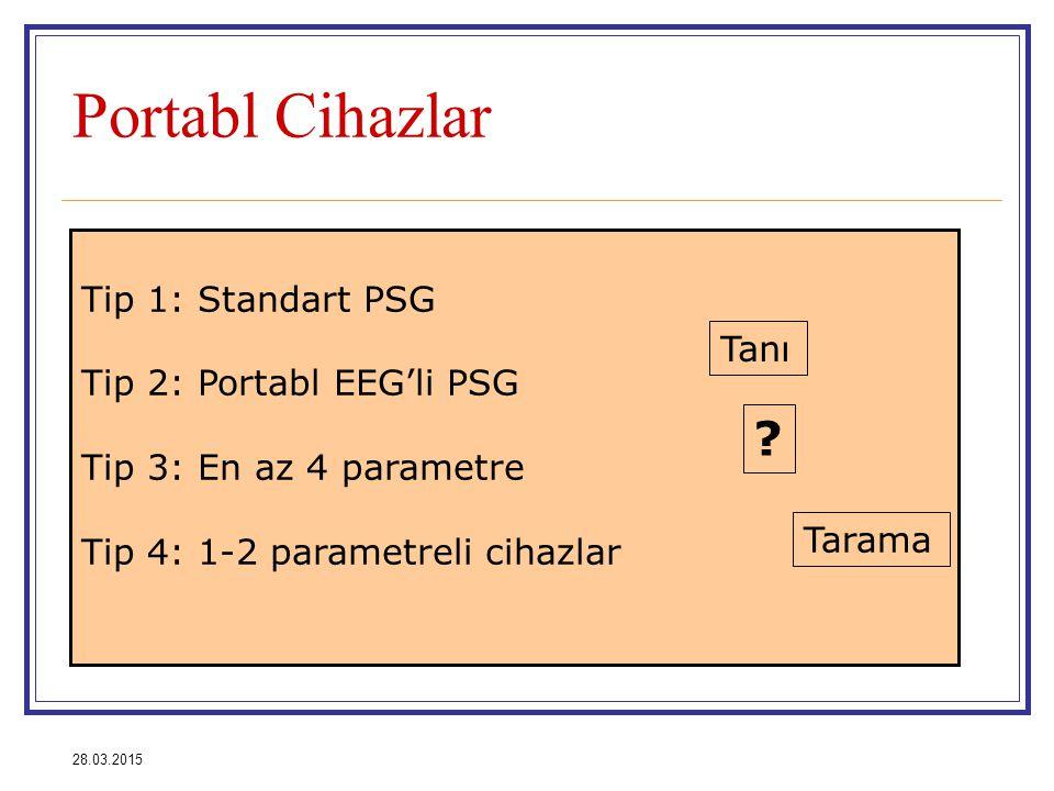 Portabl Cihazlar Tip 1: Standart PSG Tip 2: Portabl EEG'li PSG Tanı