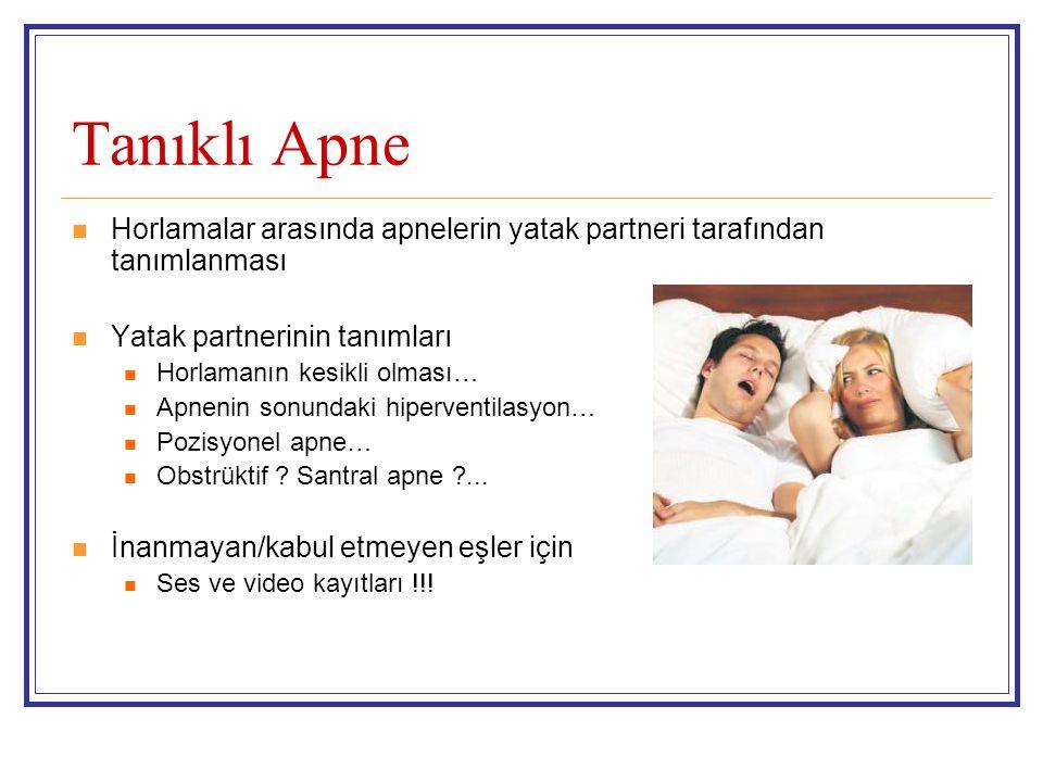 Tanıklı Apne Horlamalar arasında apnelerin yatak partneri tarafından tanımlanması. Yatak partnerinin tanımları.