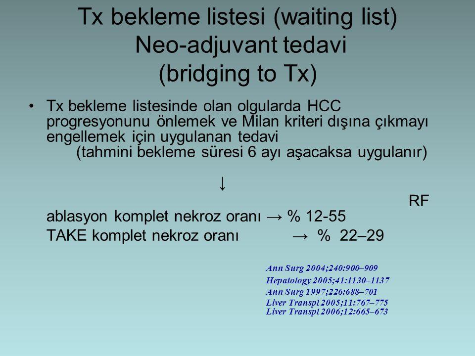 Tx bekleme listesi (waiting list) Neo-adjuvant tedavi (bridging to Tx)