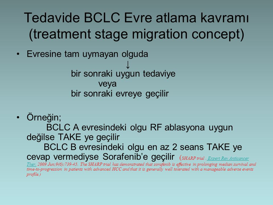 Tedavide BCLC Evre atlama kavramı (treatment stage migration concept)