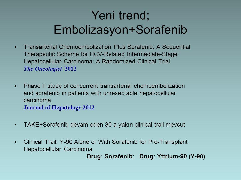 Yeni trend; Embolizasyon+Sorafenib