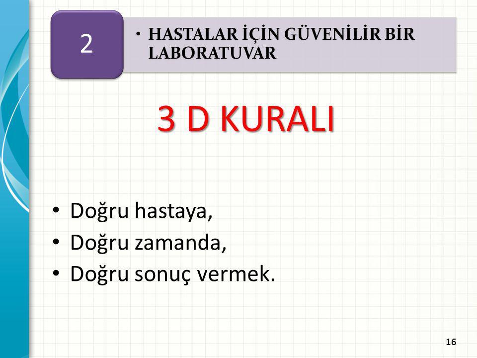 3 D KURALI 2 Doğru hastaya, Doğru zamanda, Doğru sonuç vermek.