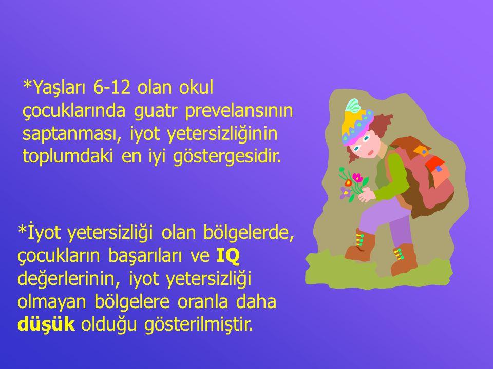 *Yaşları 6-12 olan okul çocuklarında guatr prevelansının saptanması, iyot yetersizliğinin toplumdaki en iyi göstergesidir.