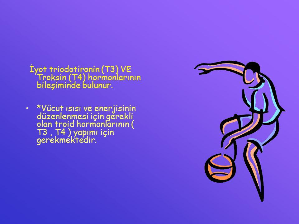İyot triodotironin (T3) VE Troksin (T4) hormonlarının bileşiminde bulunur.