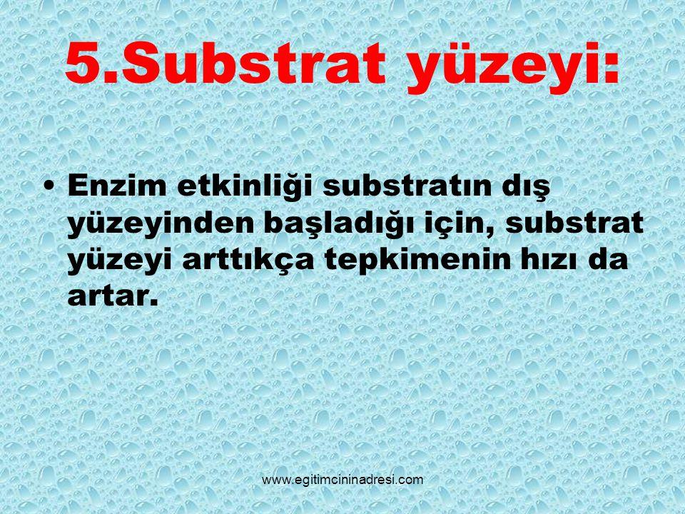 5.Substrat yüzeyi: Enzim etkinliği substratın dış yüzeyinden başladığı için, substrat yüzeyi arttıkça tepkimenin hızı da artar.