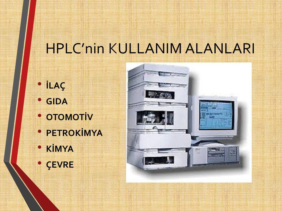 HPLC'nin KULLANIM ALANLARI