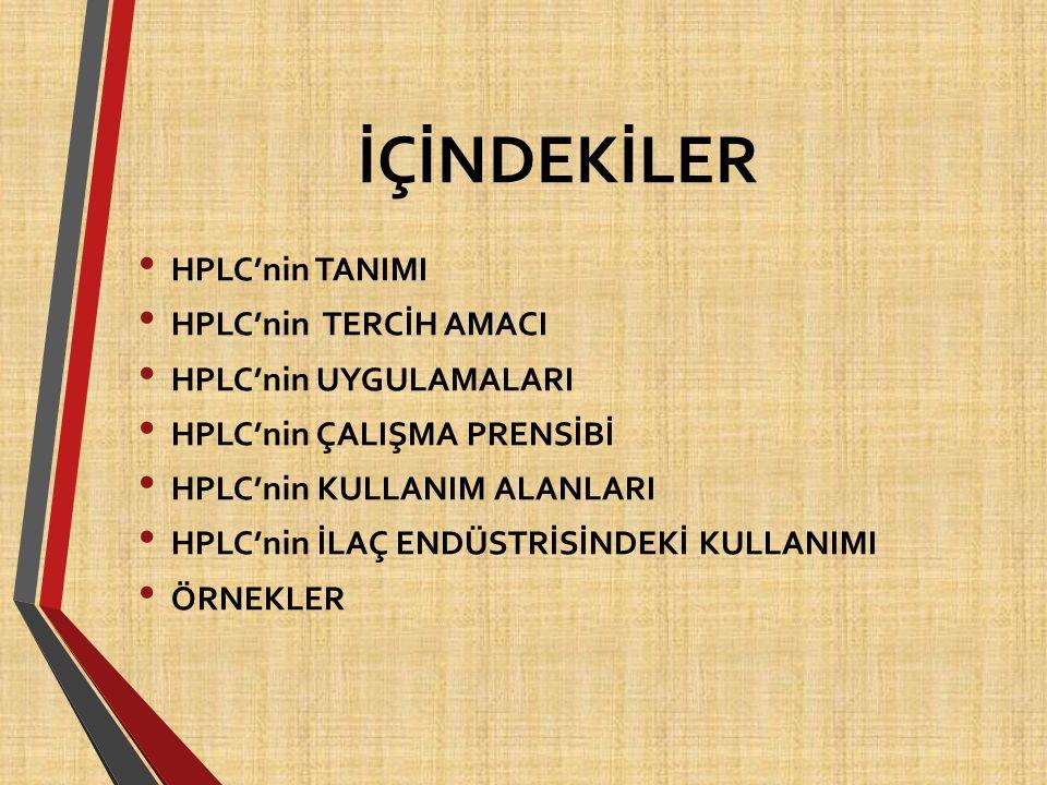 İÇİNDEKİLER HPLC'nin TANIMI HPLC'nin TERCİH AMACI