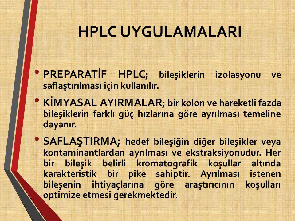 HPLC UYGULAMALARI PREPARATİF HPLC; bileşiklerin izolasyonu ve saflaştırılması için kullanılır.