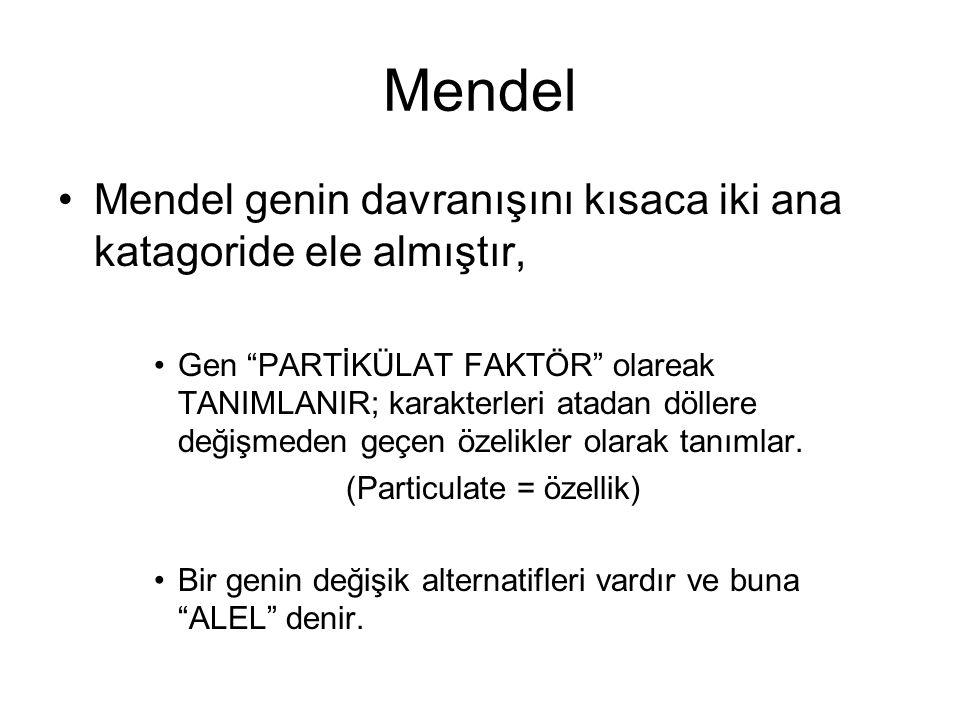 Mendel Mendel genin davranışını kısaca iki ana katagoride ele almıştır,