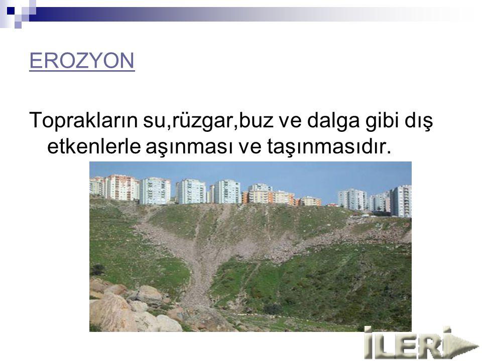EROZYON Toprakların su,rüzgar,buz ve dalga gibi dış etkenlerle aşınması ve taşınmasıdır.