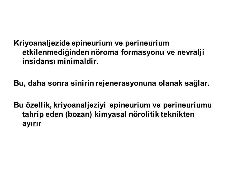 Kriyoanaljezide epineurium ve perineurium etkilenmediğinden nöroma formasyonu ve nevralji insidansı minimaldir.