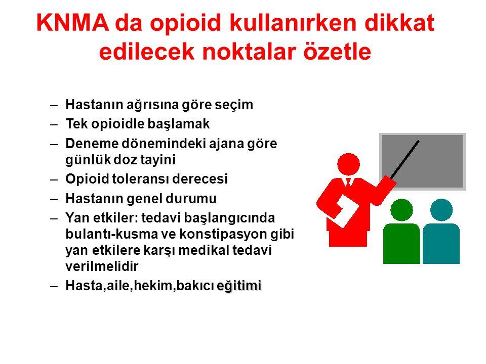 KNMA da opioid kullanırken dikkat edilecek noktalar özetle