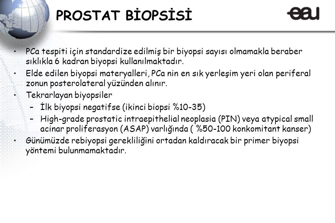 PROSTAT BİOPSİSİ PCa tespiti için standardize edilmiş bir biyopsi sayısı olmamakla beraber sıklıkla 6 kadran biyopsi kullanılmaktadır.