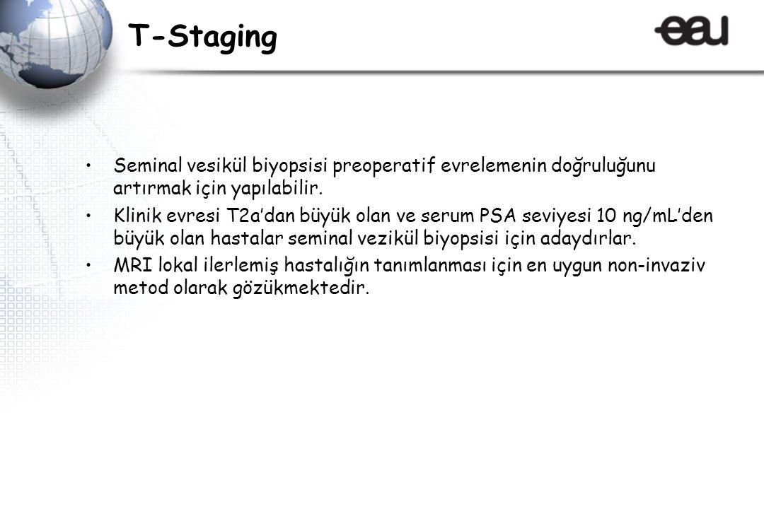 T-Staging Seminal vesikül biyopsisi preoperatif evrelemenin doğruluğunu artırmak için yapılabilir.