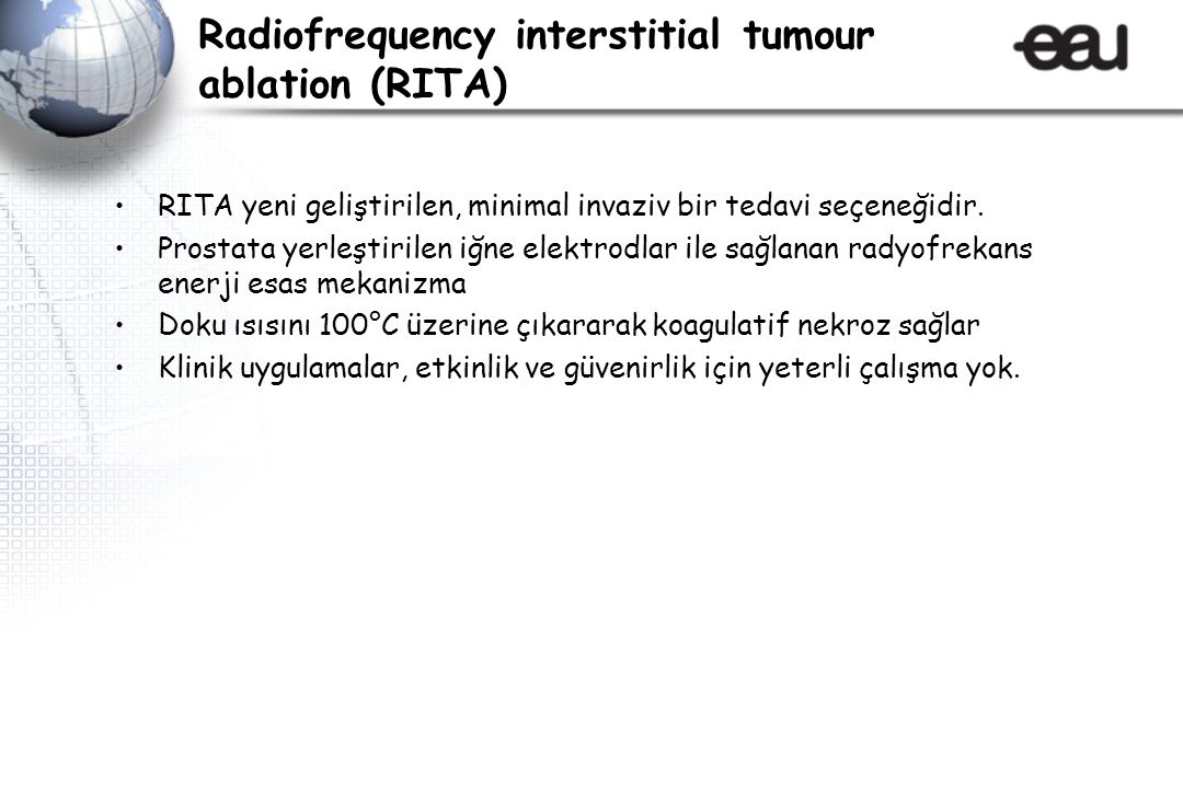 Radiofrequency interstitial tumour ablation (RITA)