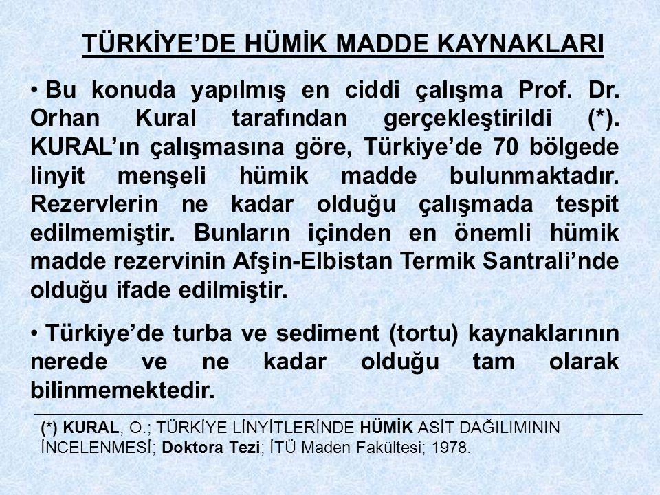 TÜRKİYE'DE HÜMİK MADDE KAYNAKLARI