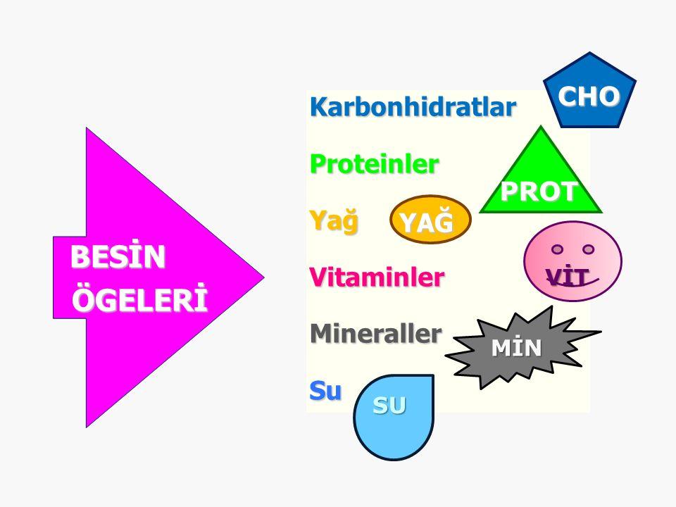BESİN ÖGELERİ CHO Karbonhidratlar Proteinler Yağ Vitaminler PROT