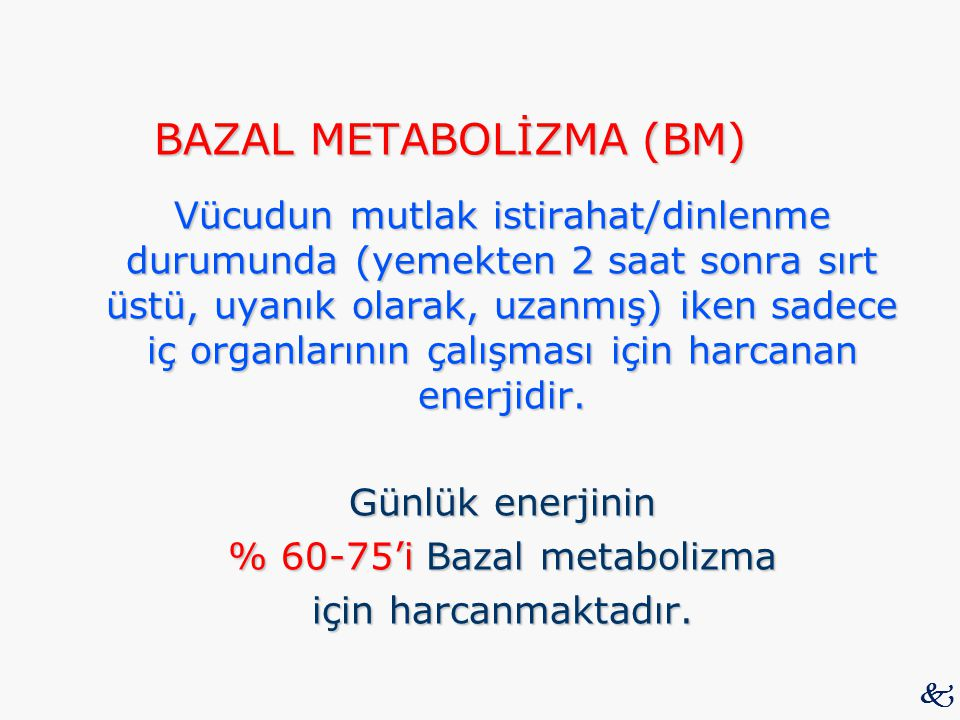 % 60-75'i Bazal metabolizma