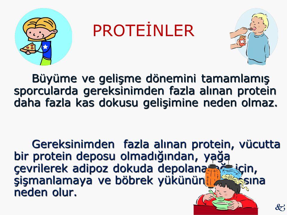 PROTEİNLER Büyüme ve gelişme dönemini tamamlamış sporcularda gereksinimden fazla alınan protein daha fazla kas dokusu gelişimine neden olmaz.