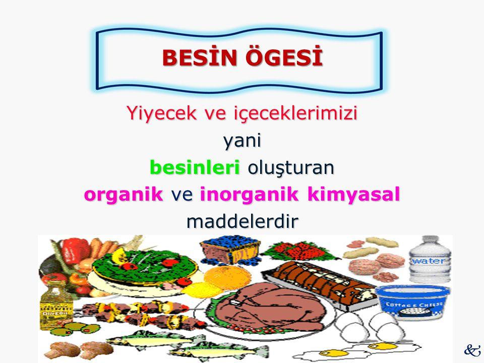 BESİN ÖGESİ Yiyecek ve içeceklerimizi yani besinleri oluşturan organik ve inorganik kimyasal maddelerdir