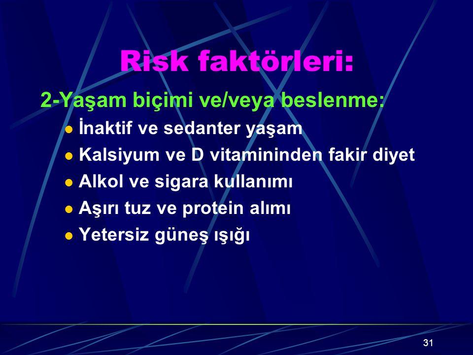 Risk faktörleri: 2-Yaşam biçimi ve/veya beslenme:
