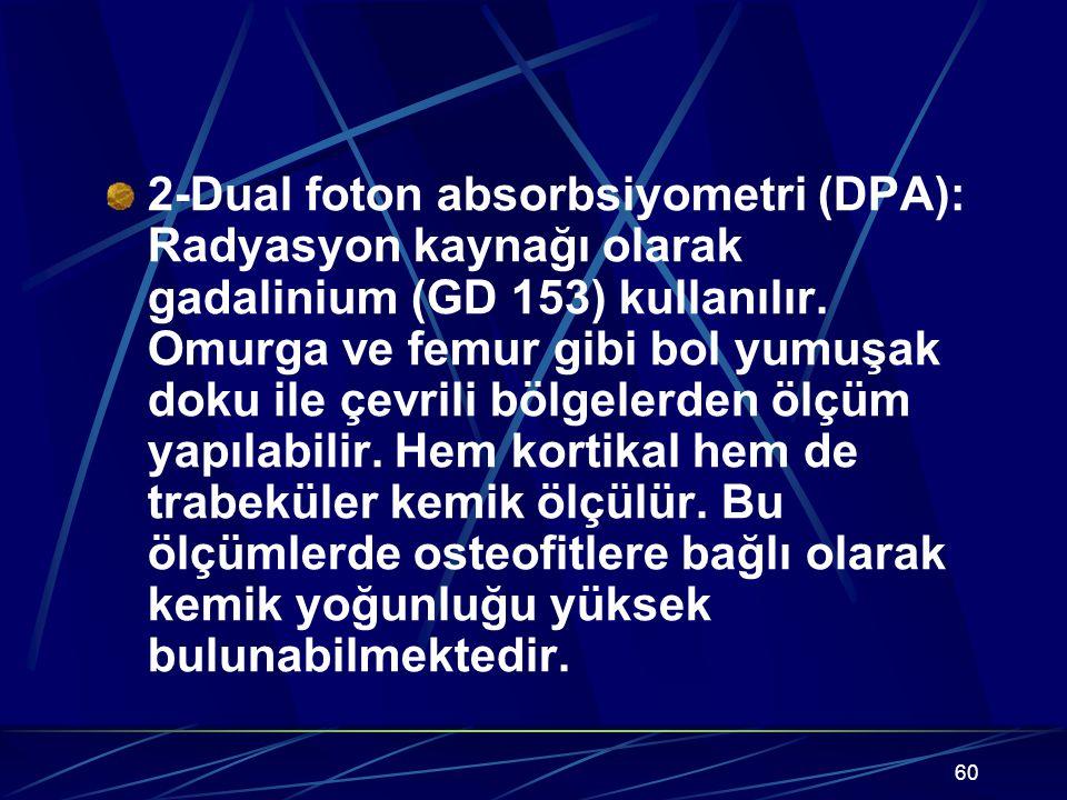 2-Dual foton absorbsiyometri (DPA): Radyasyon kaynağı olarak gadalinium (GD 153) kullanılır.