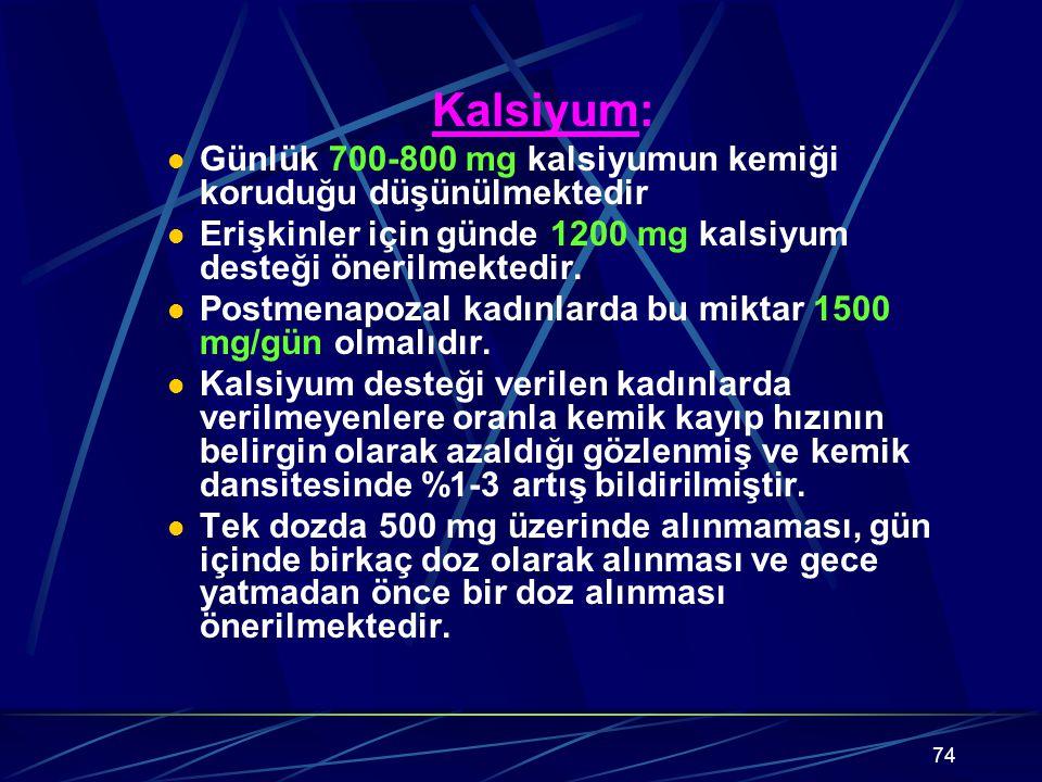 Kalsiyum: Günlük 700-800 mg kalsiyumun kemiği koruduğu düşünülmektedir