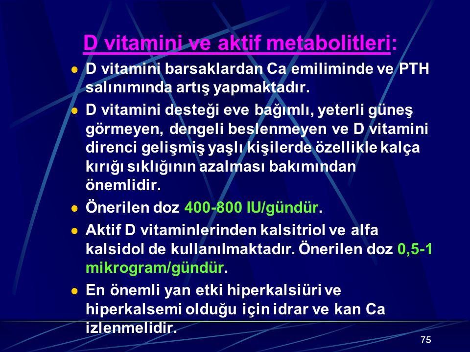 D vitamini ve aktif metabolitleri: