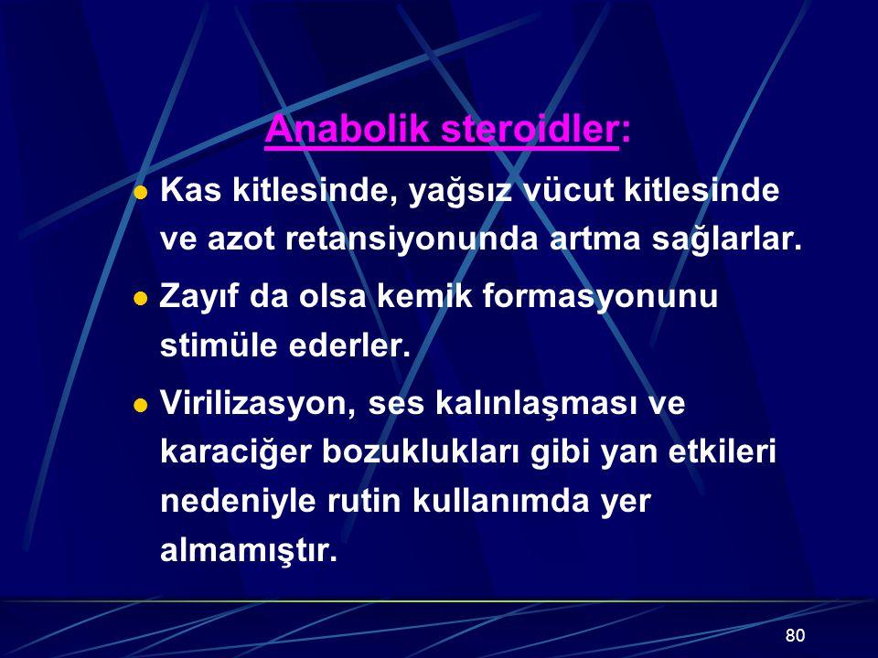 Anabolik steroidler: Kas kitlesinde, yağsız vücut kitlesinde ve azot retansiyonunda artma sağlarlar.