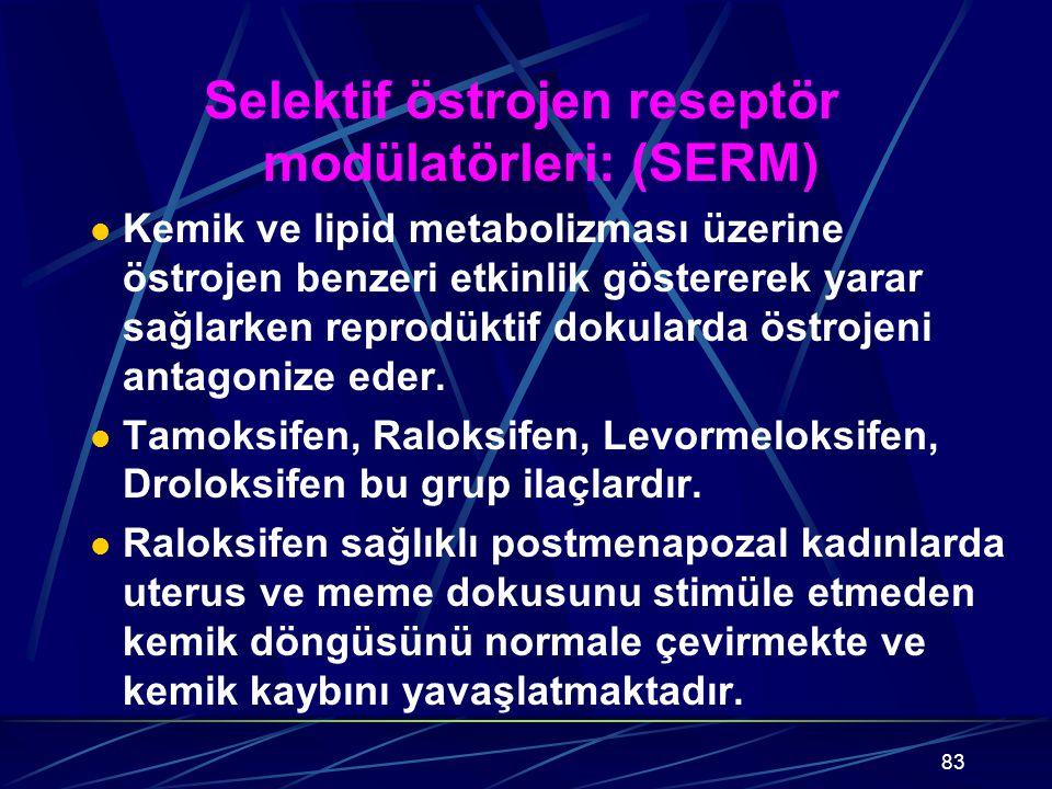 Selektif östrojen reseptör modülatörleri: (SERM)
