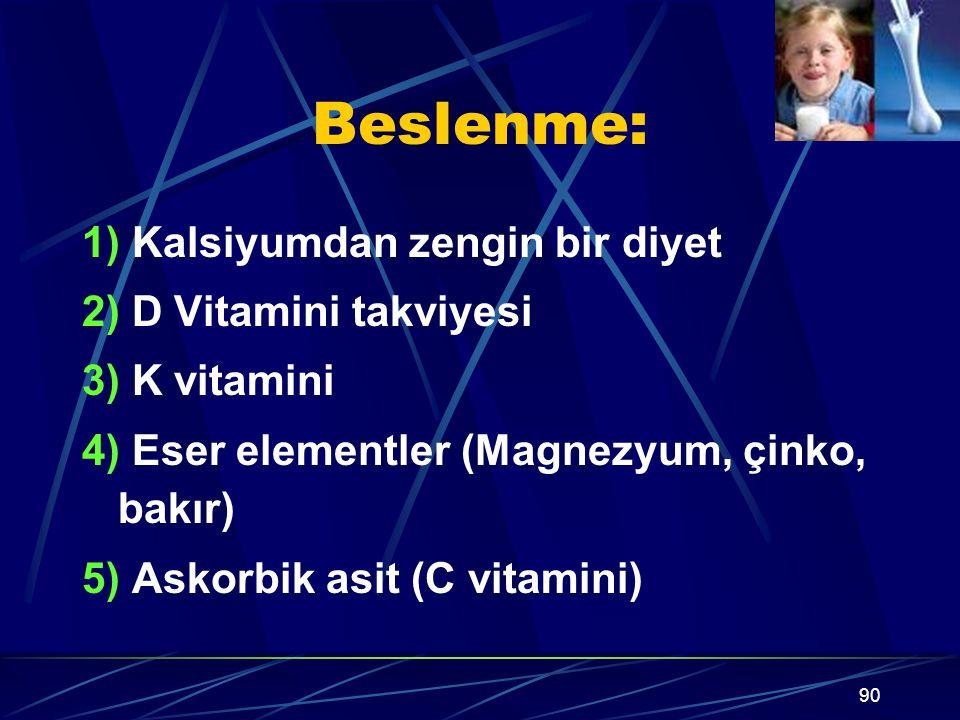 Beslenme: 1) Kalsiyumdan zengin bir diyet 2) D Vitamini takviyesi