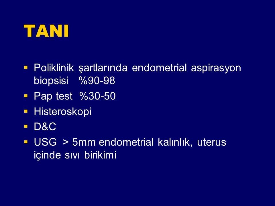 TANI Poliklinik şartlarında endometrial aspirasyon biopsisi %90-98
