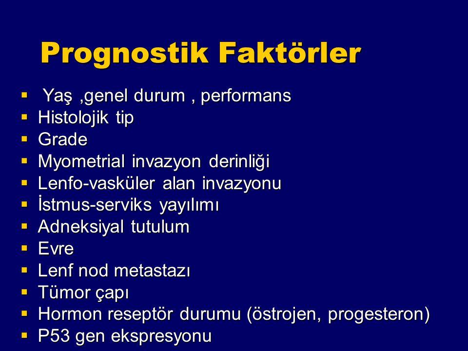 Prognostik Faktörler Yaş ,genel durum , performans Histolojik tip