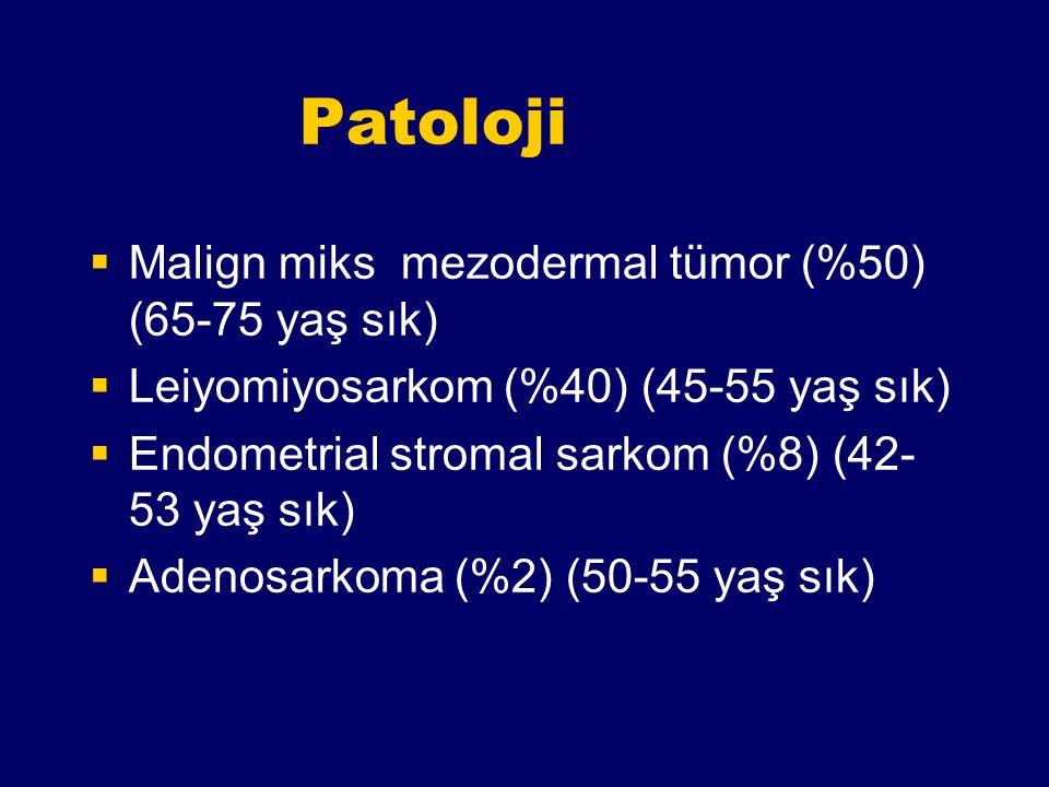Patoloji Malign miks mezodermal tümor (%50) (65-75 yaş sık)